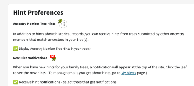 ancestry tree hints screenshot