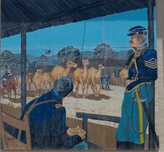 Mural_depicts_the_surprising_arrival_of_camels_at_the_U.S._Army's_Camp_Verde_in_the_county._Painted_on_the_wall_of_a_lumber_company_in_Ingram,_Texas_LCCN2014633783.tif