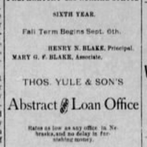blake school yule sons 1886