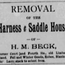 h m beck saddle 1886