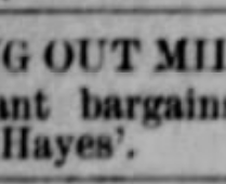 hayes millinery closing 1886